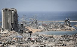A photo of Beirut's damaged port area after the 2020 explosion