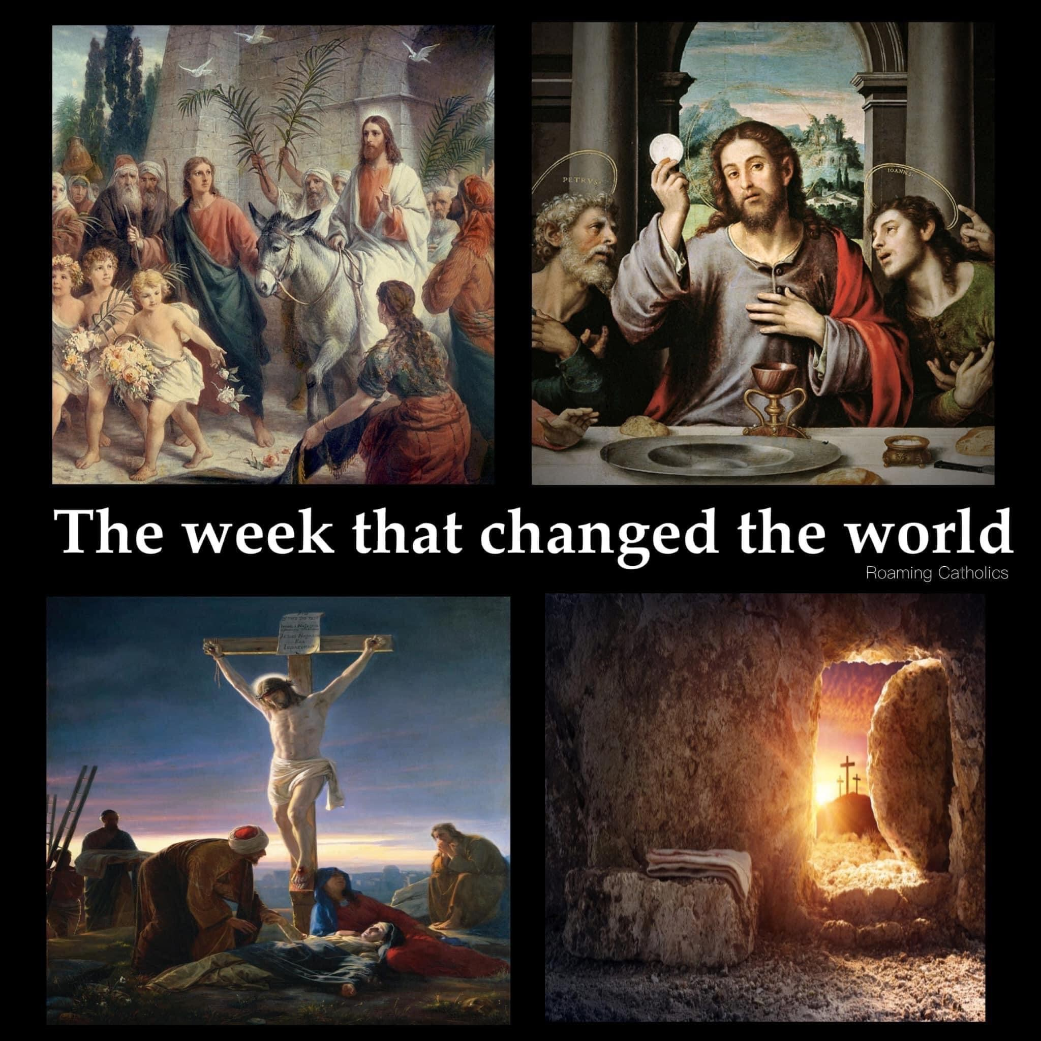 A collection of paintings showing the Passion and Resurrection of Christ