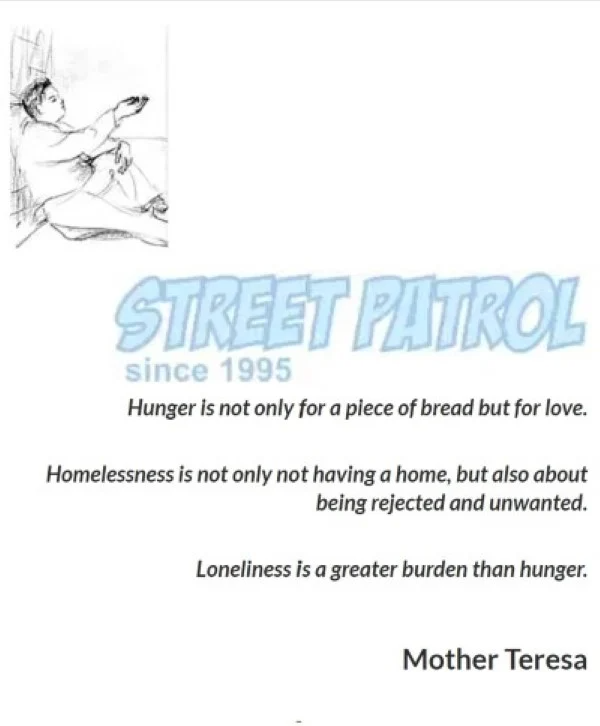 Street Patrol logo and Mother Teresa quote