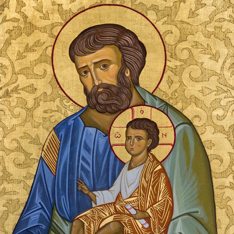 Icon of St. Joseph holding Jesus