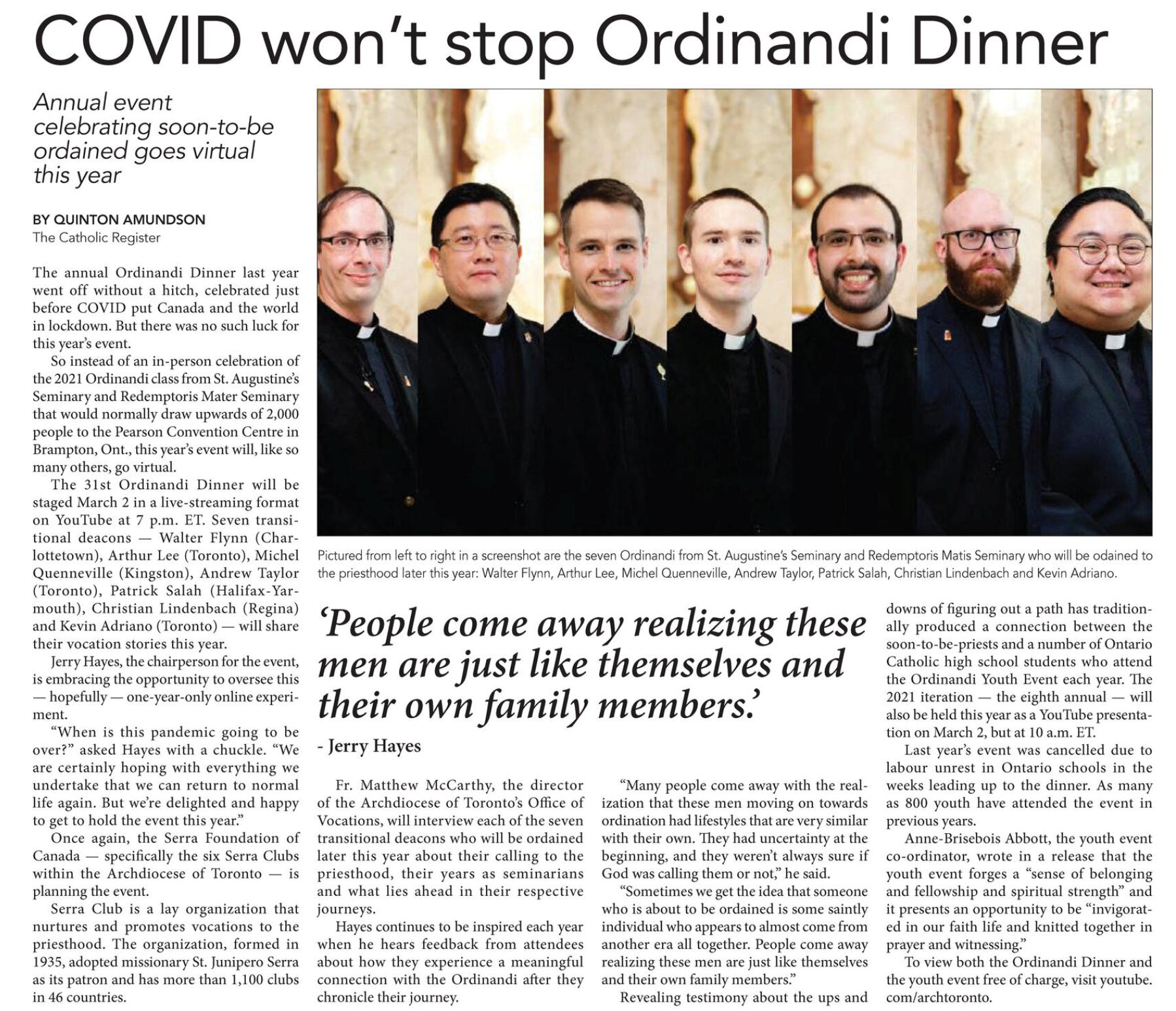 virtual ordinandi dinner register article