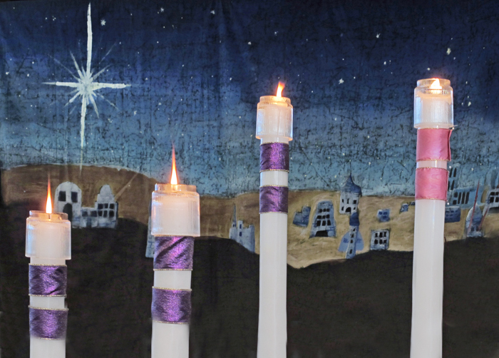 Four Advent candles at church