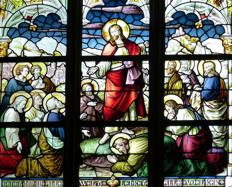 Ascension Sunday stained glass window