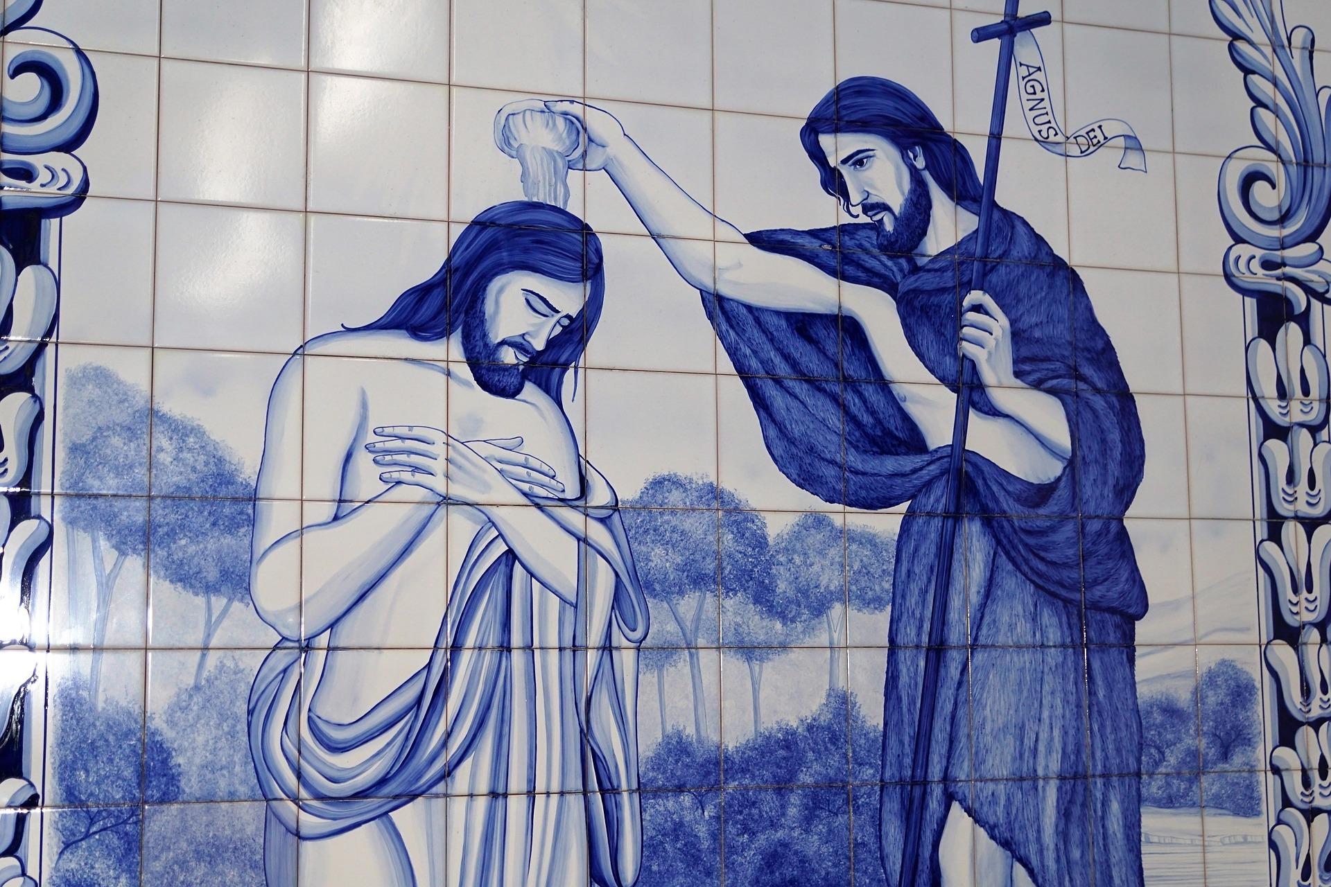 Jesus and John the Baptist art