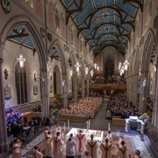A packed St. Michael's Cathedral Basilica in Toronto