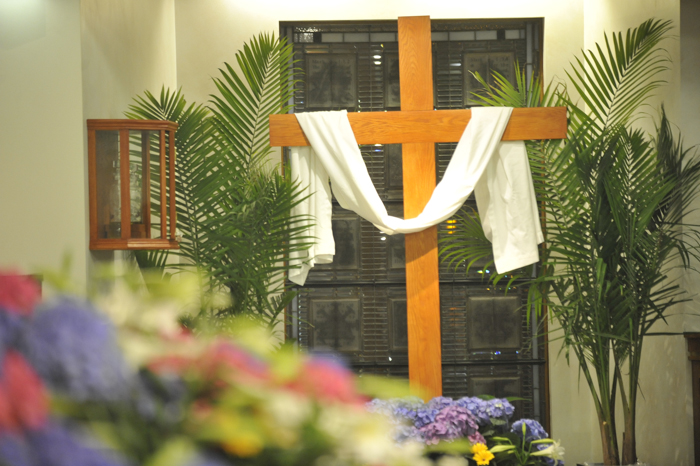 Easter cross with white cloth