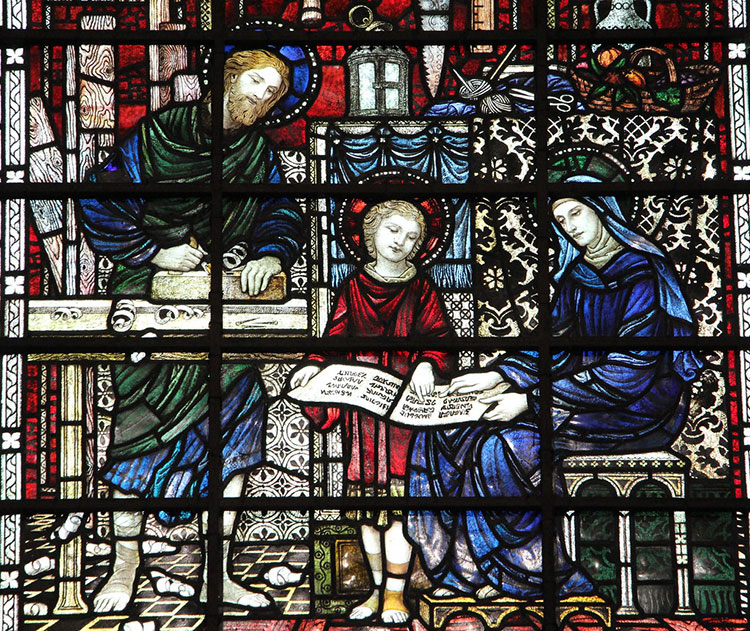 Holy Family depicted on stained glass window