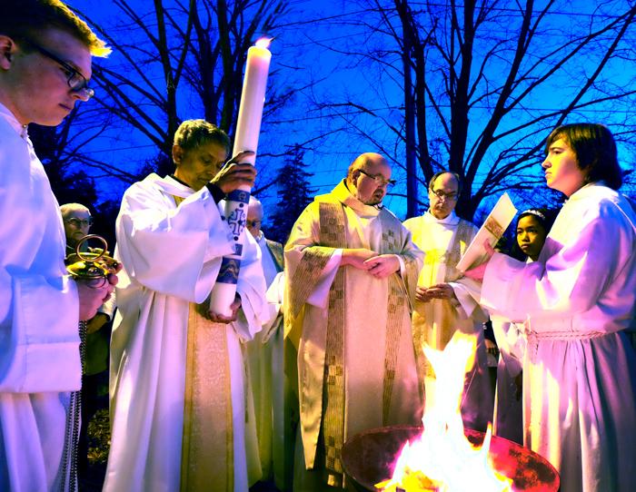Priests at Holy Saturday Vigil