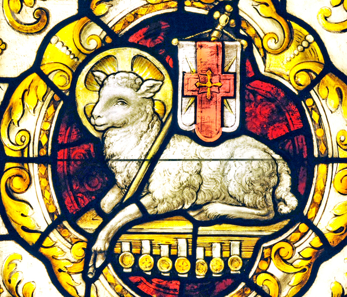 Stained glass window of lamb