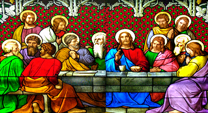 Last Supper on stained glass window