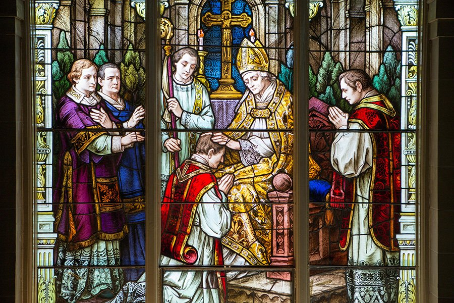 Stained glass window of ordination