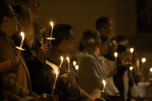 Parishioners with candles