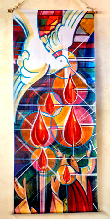 Banner with dove and flames