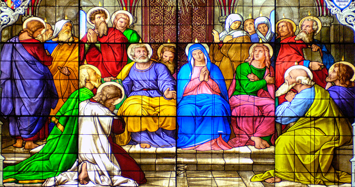 Pentecost stained glass window