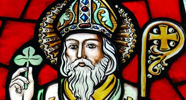 St. Patrick on stained glass window