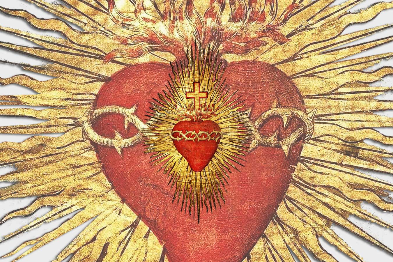Red and gold image of the Sacred Heart of Jesus