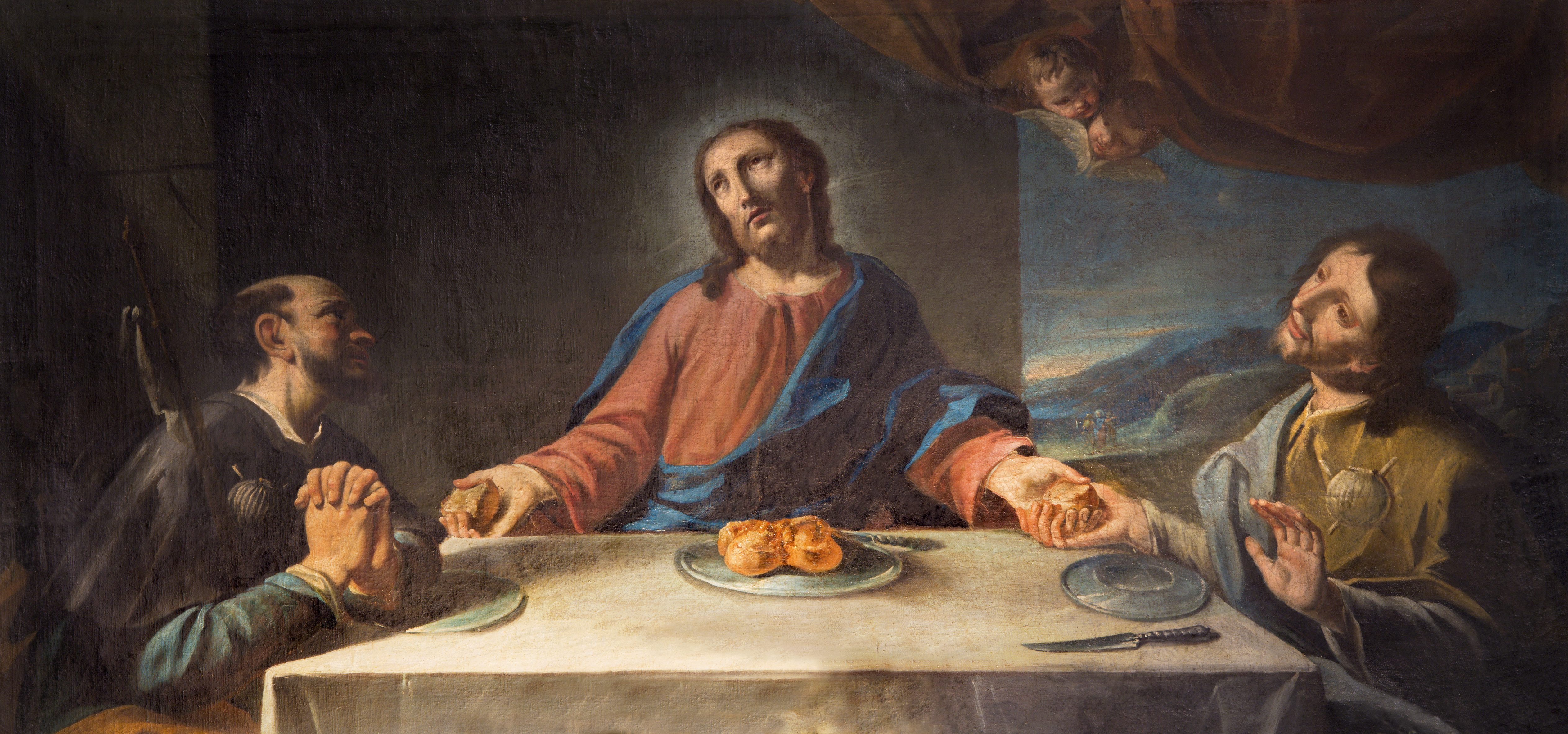 MODENA, ITALY - APRIL 14, 2018: The painting of Supper with two Disciples of Emmaus in church Chiesa di San Pietro by unknown artist