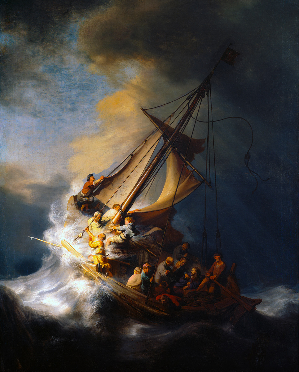 Rembrandt painting of Jesus and the disciples on a boat in a storm