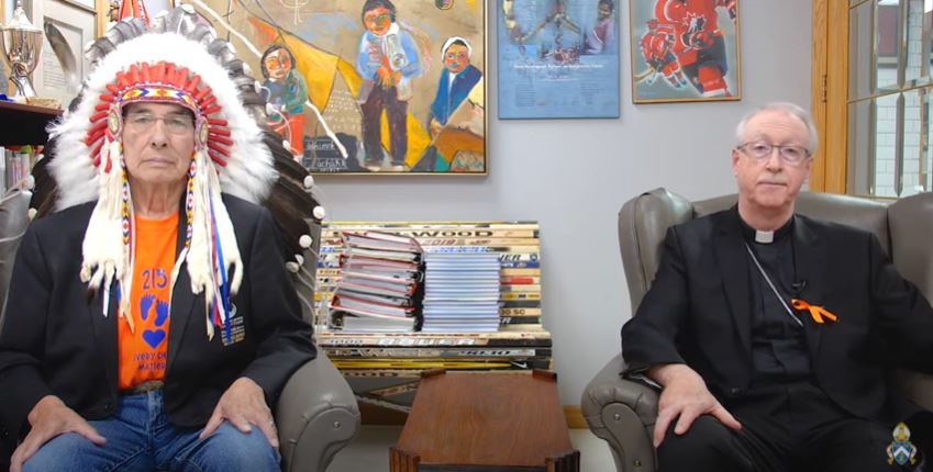 "Edmonton's Archbishop Richard Smith and Chief J. Wilton ""Willie"" Littlechild discuss reconciliation"