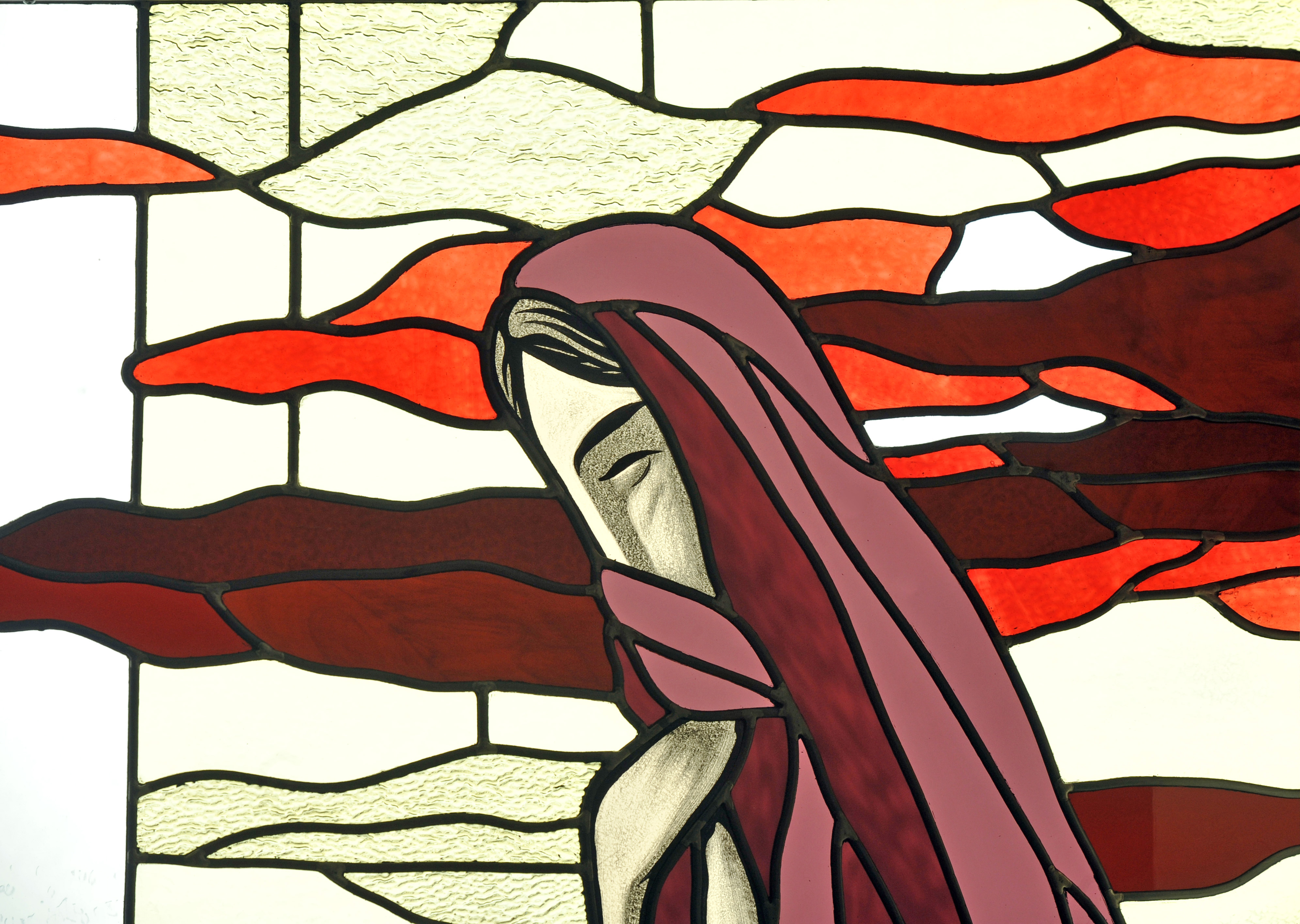 Cross stained-glass window