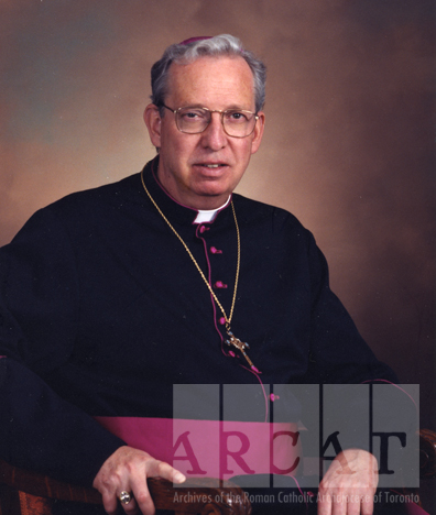 Portrait of Most Reverend Ralph Anthony Giroux Meagher seated wearing episcopal dress.