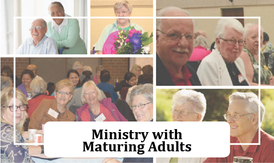 collage of adults 50+ sitting and talking at a ministry event