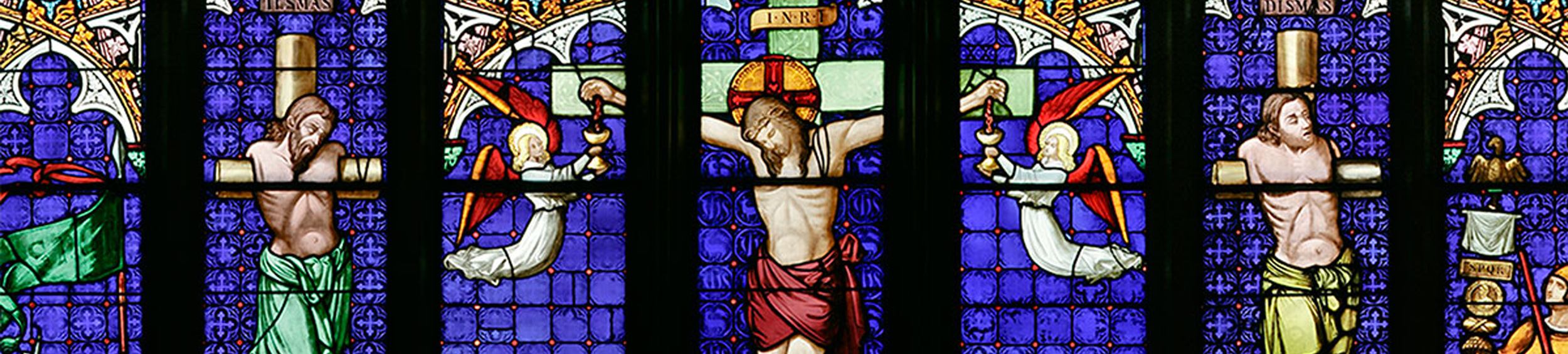 Stained glass window of Jesus on the Cross